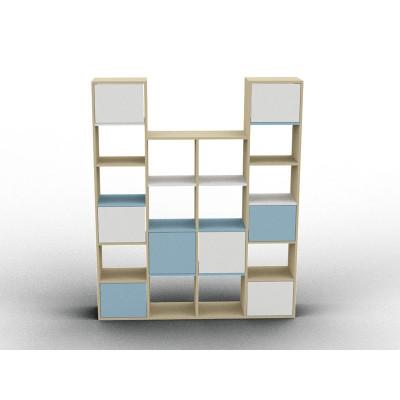 Meuble hauteur variable blanc et bleu