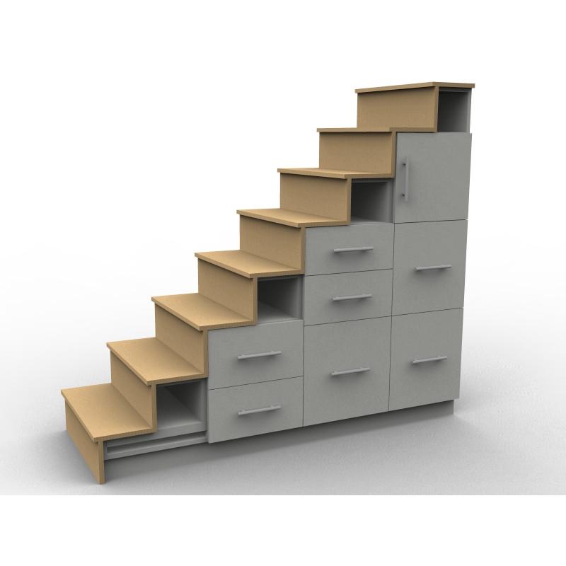 Meuble escalier avec tiroirs et contremarche