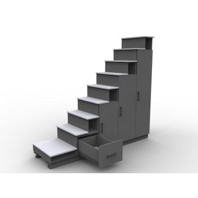 7525 Escalier sur mesure noir et gris alu