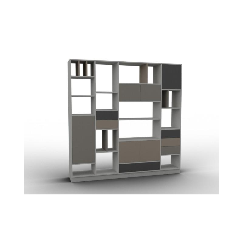 Bibliothèque claustra avec rangements modulables