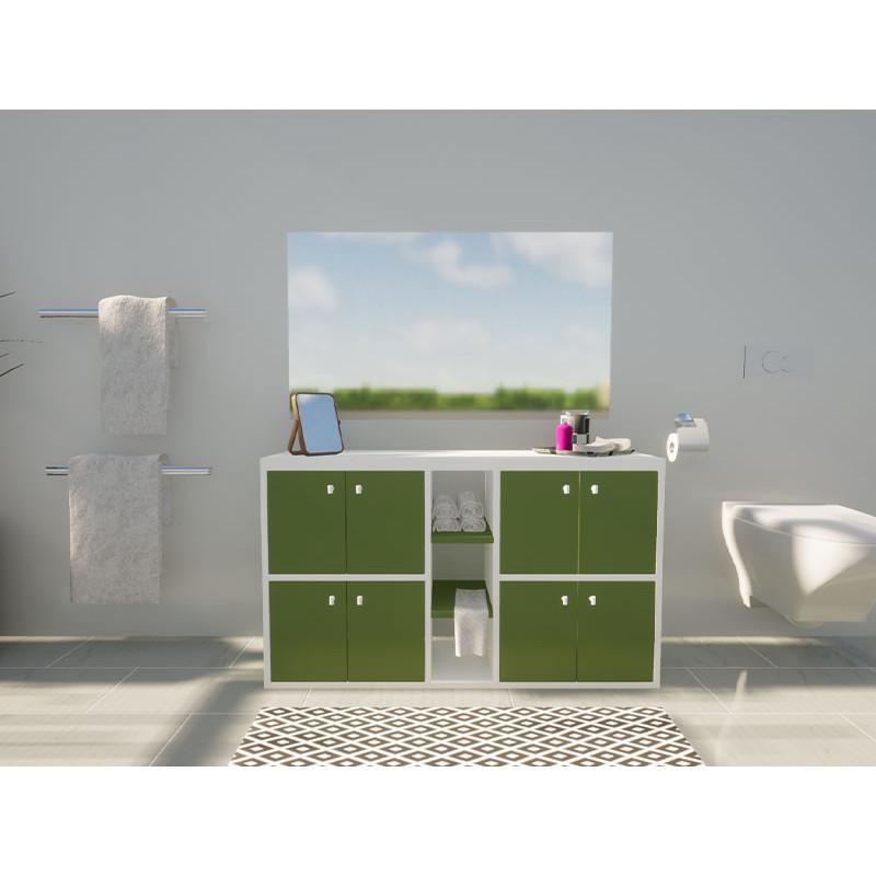 Rangement salle de bain coloré