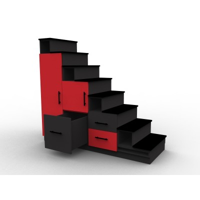 Meuble escalier rouge et noir avec portes et tiroirs, modèle Stendal