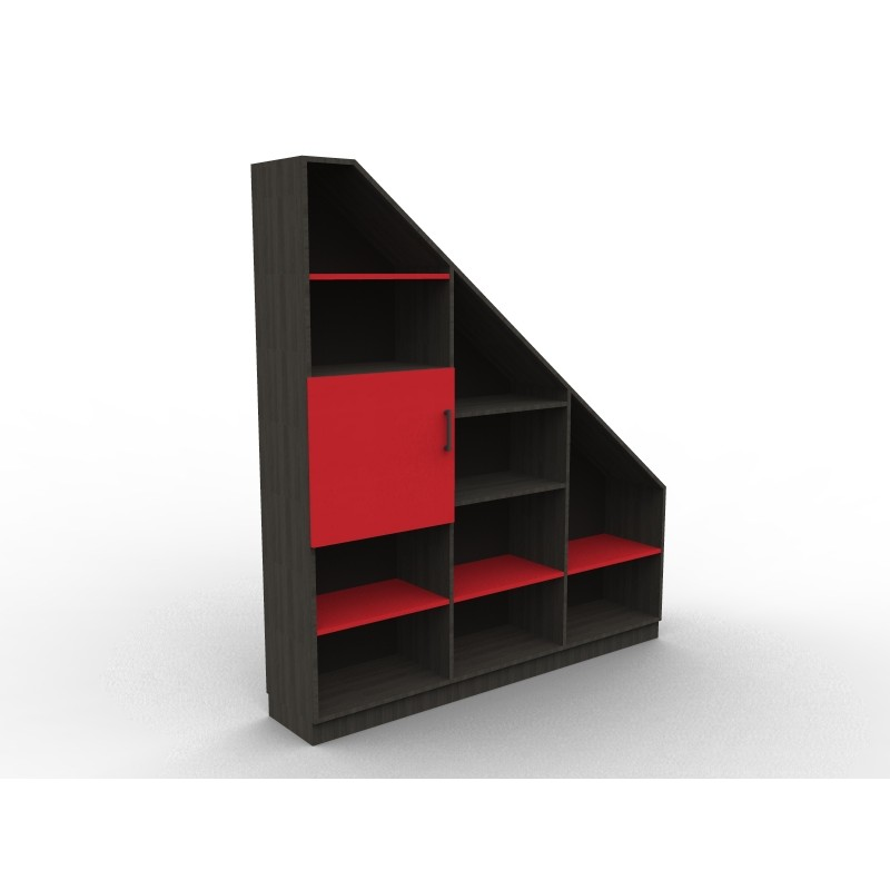 cheap meuble bibliothque sous pente rouge et noir with commode sous pente. Black Bedroom Furniture Sets. Home Design Ideas