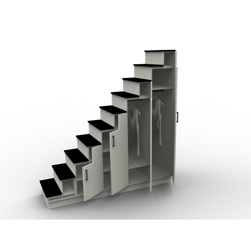 2014 112403 meuble escalier sur mesure gris et noir dessinetonmeuble. Black Bedroom Furniture Sets. Home Design Ideas