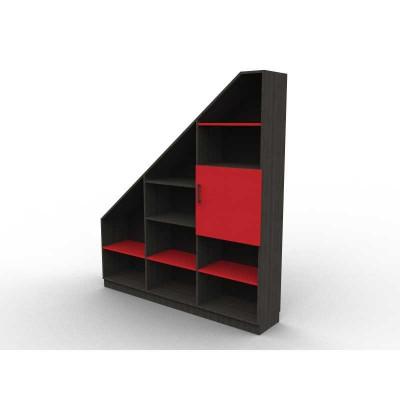 Bibliothèque sous pente rouge et noir sens gauche