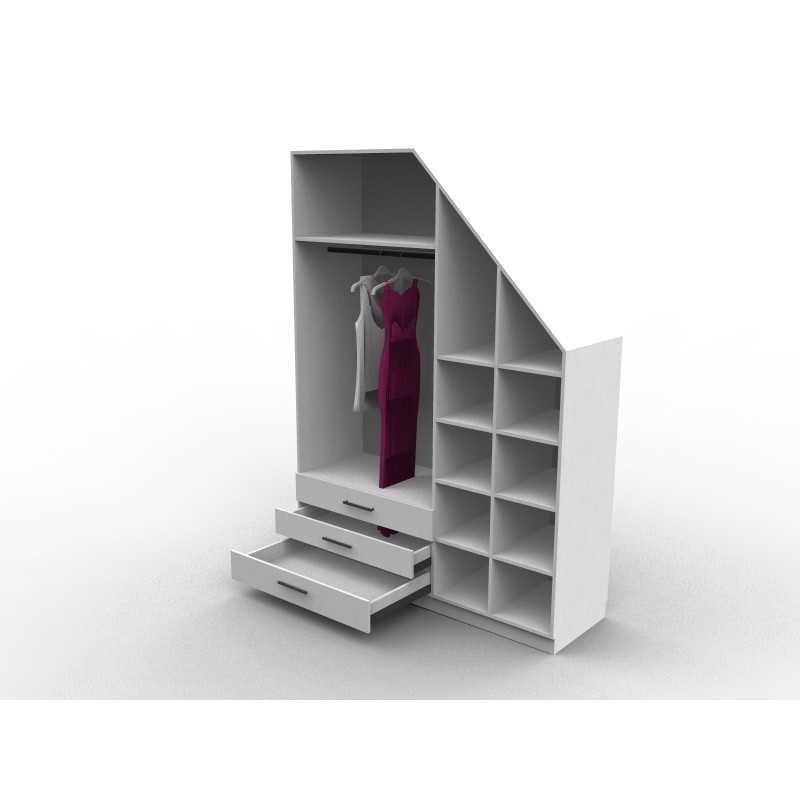 meuble sous escalier avec dressing sur mesure et configurable. Black Bedroom Furniture Sets. Home Design Ideas