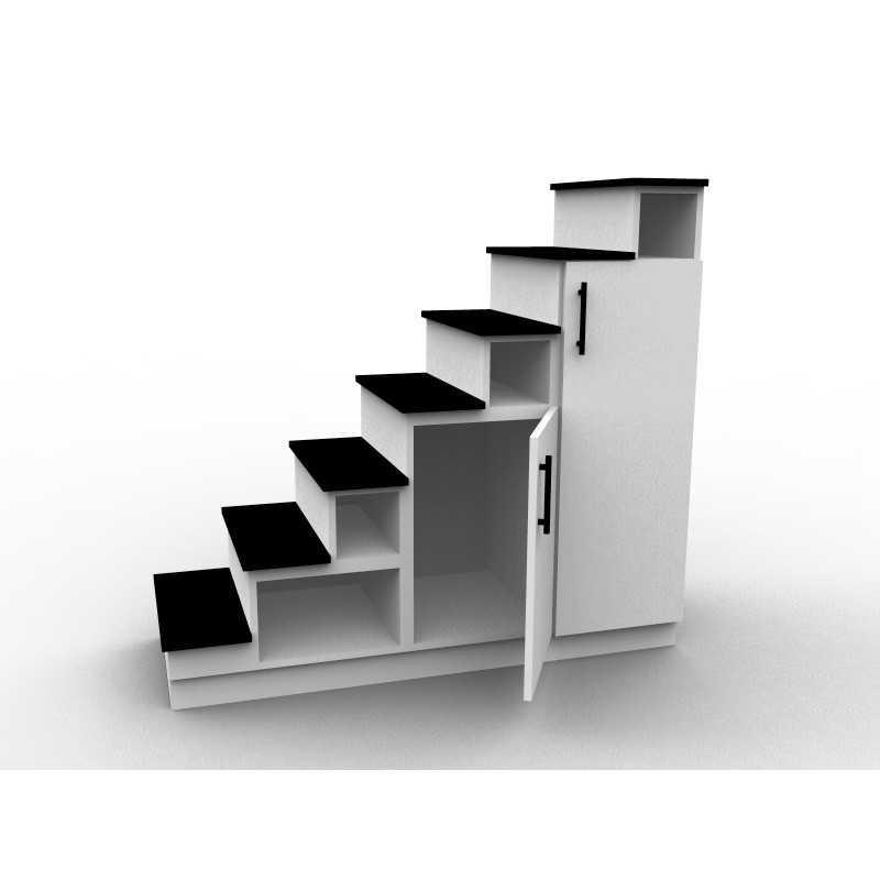 meuble escalier blanc et noir double espace de rangement. Black Bedroom Furniture Sets. Home Design Ideas